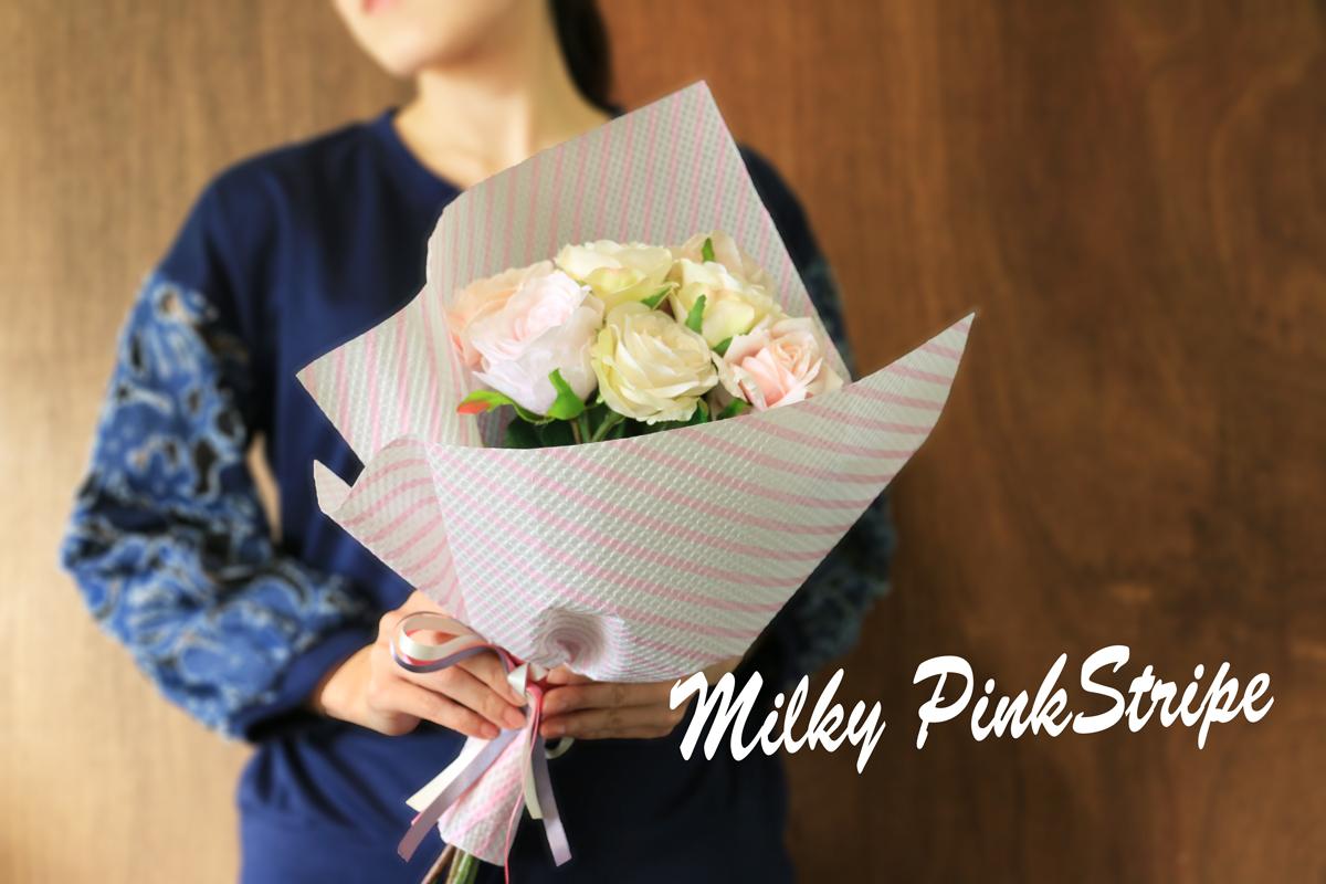 ピンクストライプ 花束